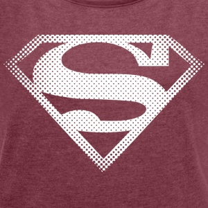 DC Comics Originals Superman Retro Symbol - Frauen T-Shirt mit gerollten Ärmeln