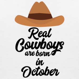 Real Cowboys are bon in October Sm9xh T-Shirts - Women's V-Neck T-Shirt