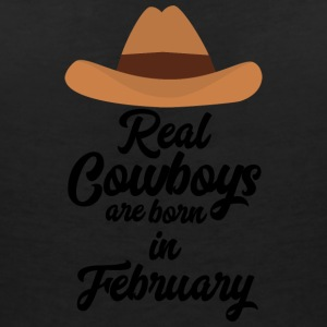 Real Cowboys are bon in February Si955 T-Shirts - Women's V-Neck T-Shirt