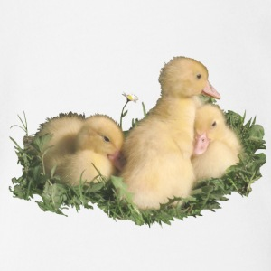 three cute duck chicks in the grass - Organic Short-sleeved Baby Bodysuit