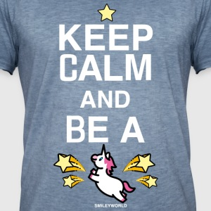 SmileyWorld Keep Calm And Be A Unicorn - Men's Vintage T-Shirt