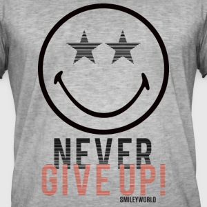 SmileyWorld Never Give Up Gib Nie Auf - Männer Vintage T-Shirt