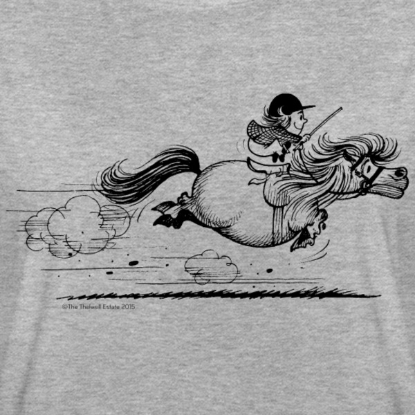 Thelwell Cartoon Pony rennt um die Wette Jockey - Frauen Oversize T-Shirt