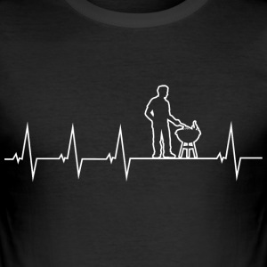 Barbecue - Grillmeister - Heartbeat T-skjorter - Slim Fit T-skjorte for menn