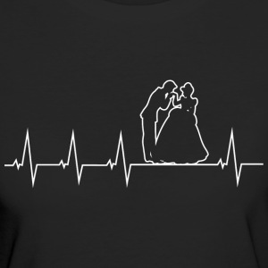 Wedding - bride and groom - heartbeat T-Shirts - Women's Organic T-shirt