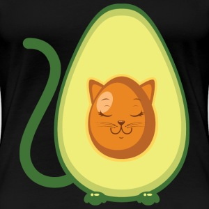 Cute Avocado Cat Illustration T-shirts - Premium-T-shirt dam