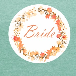 bride_wreath_flower_power_orange T-skjorter - T-skjorte med rulleermer for kvinner