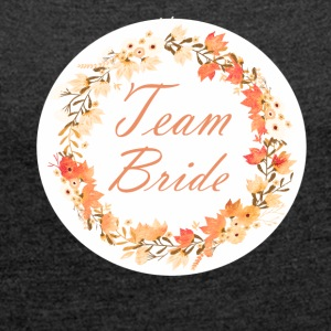 team_bride_wreath_flower_power_orange T-shirts - Vrouwen T-shirt met opgerolde mouwen