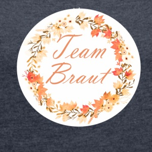 Team_braut_wreath_flower_power_orange T-Shirts - Frauen T-Shirt mit gerollten Ärmeln