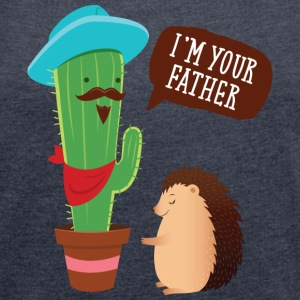 I'm Your Father | Cactus Hedgehog Illustration T-Shirts - Women's T-shirt with rolled up sleeves