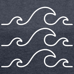Waves Logo Design T-Shirts - Women's T-shirt with rolled up sleeves