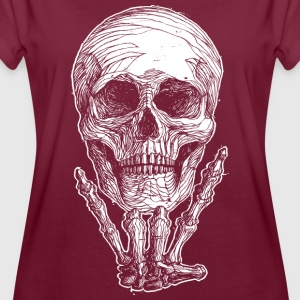 Frauen Oversize T-Shirt, Rock Skull in weiß - Frauen Oversize T-Shirt