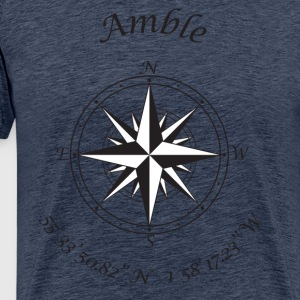 Amble, Northumberland   Compass (black) T-Shirts - Men's Premium T-Shirt