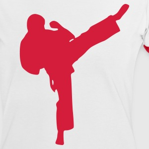 Wit/rood karate_man T-shirts - Vrouwen contrastshirt