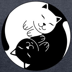 Cat Ying Yang | Cute Illustration  T-Shirts - Frauen T-Shirt mit gerollten Ärmeln
