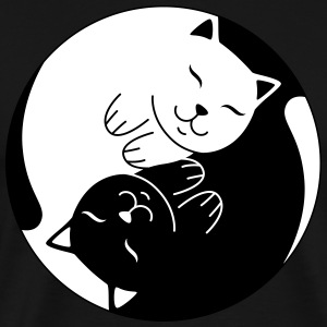 Cat Ying Yang | Cute Illustration  T-shirts - Herre premium T-shirt