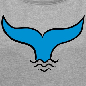 Fish Fin, Mermaid, Whale, Sea, Ocean, Waves  T-Shirts - Women's T-shirt with rolled up sleeves