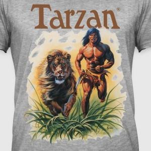 Tarzan Running Lion Through Wilderness - Koszulka męska vintage
