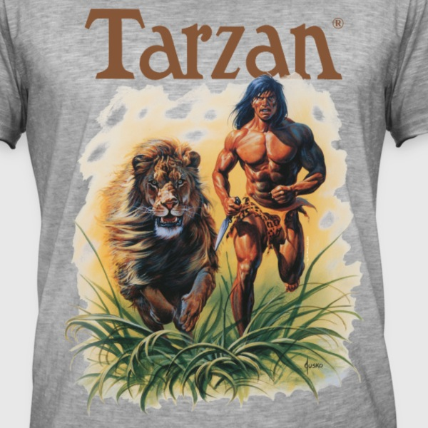 Tarzan Running Lion Through Wilderness - Herre vintage T-shirt