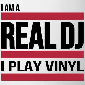 real DJ play vinyl Schallplatte Club turntables Mugs & Drinkware - Contrasting Mug