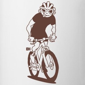 MTB - A mountain biker on his moutainbike Mugs & Drinkware - Mug