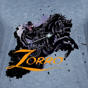 Zorro Riding On His Black Mount Tornado - Camiseta vintage hombre
