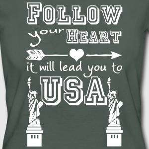 Heart leads you to USA - Frauen Bio-T-Shirt