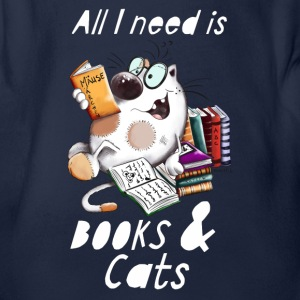 Cat with Books Baby Bodys - Baby Bio-Kurzarm-Body
