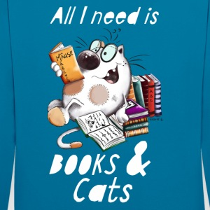 Cat with Books Pullover & Hoodies - Kontrast-Hoodie