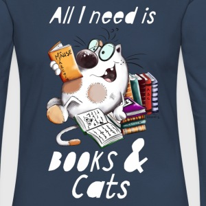 Cat with Books Langarmshirts - Frauen Premium Langarmshirt