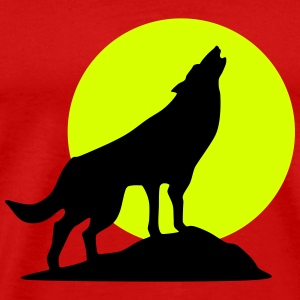 Wolf and full moon (super cheap!) T-shirts - Herre premium T-shirt