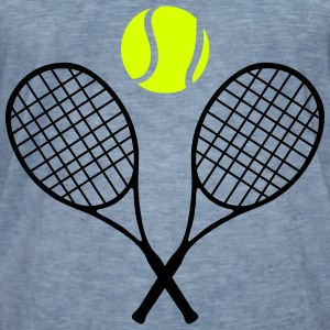 Tennis racket and ball (cheap!) 2 colors T-shirts - Herre vintage T-shirt