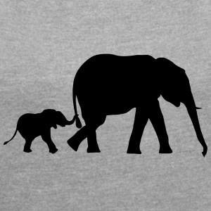 Elephant and baby elephant (super cheap!) Tee shirts - T-shirt Femme à manches retroussées