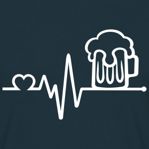 beer glass frequency pulse heart beat hearts T-Shirts - Men's T-Shirt