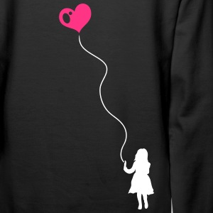 Silhouette of a little girl with a heart balloon.  - Women's Premium Hoodie