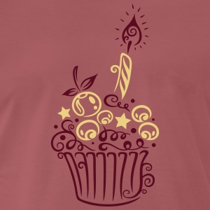 Cupcake with fruits and candle - Men's Premium T-Shirt