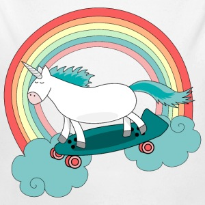 Unicorn with skateboard Body neonato - Body ecologico per neonato a manica lunga