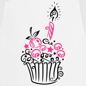 Cupcake with fruits and candle - Cooking Apron