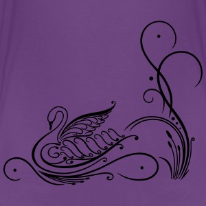 Filigree calligraphy swan with reed. - Teenage Premium T-Shirt