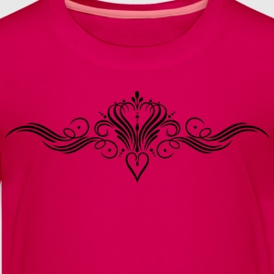 Filigree calligraphy heart with crown - Teenage Premium T-Shirt