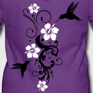 Hummingbird, colibri with hibiscus flowers  - Women's Premium Hooded Jacket
