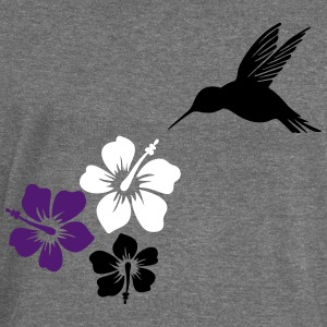 Hummingbird, colibri with hibiscus flowers  - Women's Boat Neck Long Sleeve Top