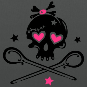 Skull girlie with hearts, spoons and stars. - Tote Bag