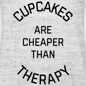 Cupcakes Cheaper Therapy Funny Quote Tops - Women's Tank Top by Bella