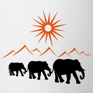 Elephants in the desert, vacation, travel. - Mug