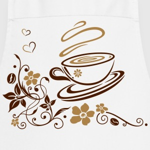 Coffee Cup with coffee beans, flowers and hearts. - Cooking Apron
