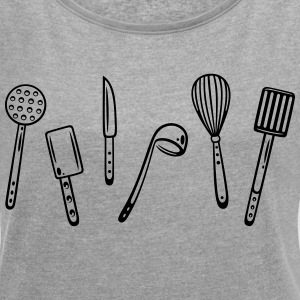 Kitchen utensils for cooking and grilling - Women's T-shirt with rolled up sleeves