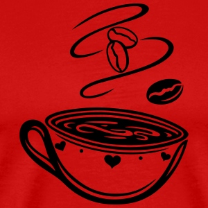 Coffee Cup with coffee beans and hearts. - Men's Premium T-Shirt