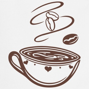 Coffee Cup with coffee beans and hearts. - Cooking Apron