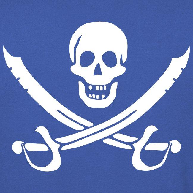 Piratenpullover Mann Weiß-Rot